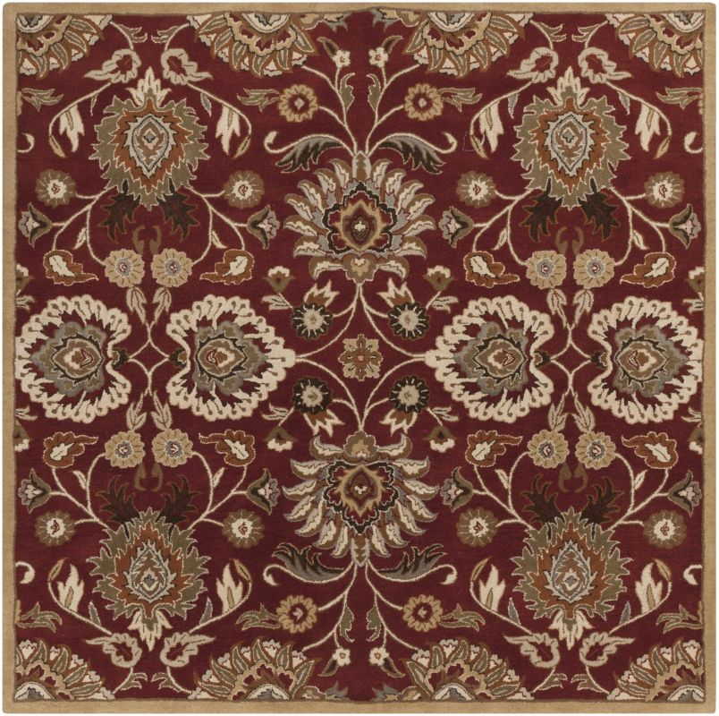 Surya CAE-1061 Caesar Hand Tufted Wool Rug Red 8 Square Home Decor