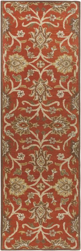 Surya CAE-1062 Caesar Hand Tufted Wool Rug Red 2 1/2 x 8 Home Decor