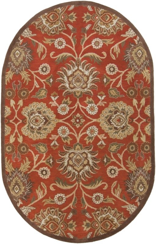 Surya CAE-1062 Caesar Hand Tufted Wool Rug Red 6 x 9 Oval Home Decor
