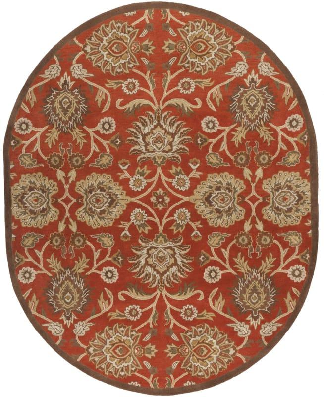 Surya CAE-1062 Caesar Hand Tufted Wool Rug Red 8 x 10 Oval Home Decor