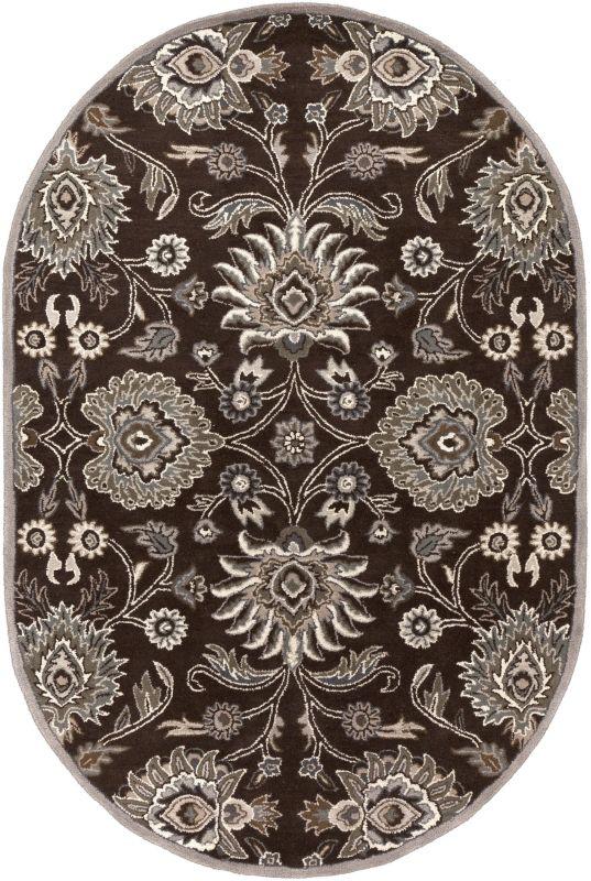 Surya CAE-1063 Caesar Hand Tufted Wool Rug Brown 6 x 9 Oval Home Decor