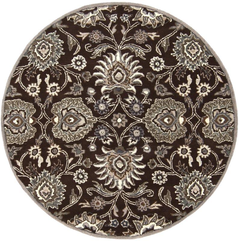 Surya CAE-1063 Caesar Hand Tufted Wool Rug Brown 6 Round Home Decor