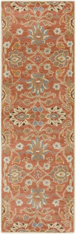 Surya CAE-1107 Caesar Hand Tufted Wool Rug Orange 2 1/2 x 8 Home Decor