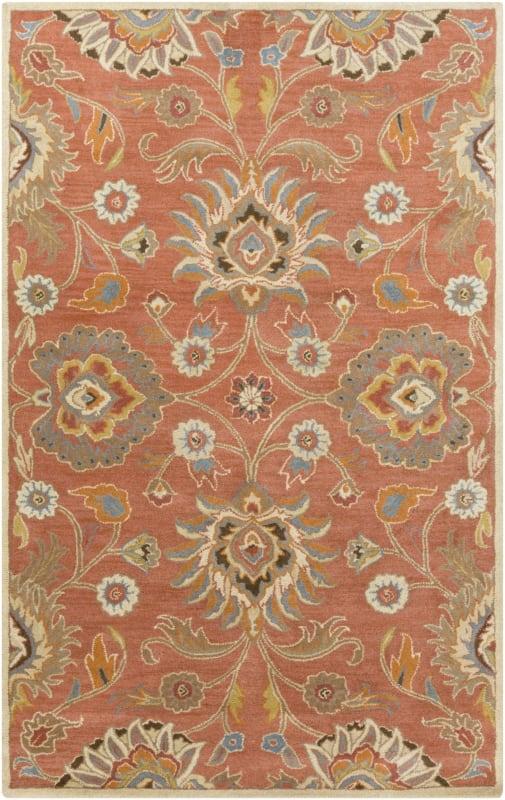 Surya CAE-1107 Caesar Hand Tufted Wool Rug Orange 5 x 8 Home Decor