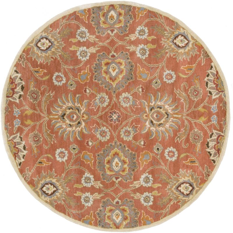 Surya CAE-1107 Caesar Hand Tufted Wool Rug Orange 6 Round Home Decor