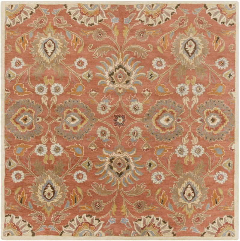 Surya CAE-1107 Caesar Hand Tufted Wool Rug Orange 6 Square Home Decor