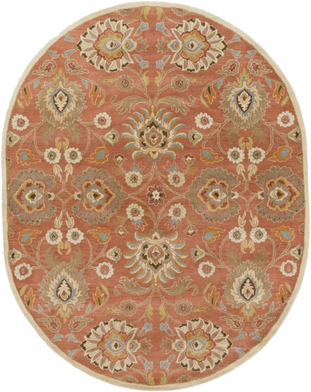 Surya CAE-1107 Caesar Hand Tufted Wool Rug Orange 8 x 10 Oval Home