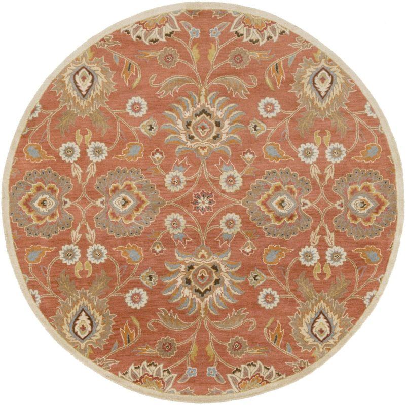 Surya CAE-1107 Caesar Hand Tufted Wool Rug Orange 8 Round Home Decor