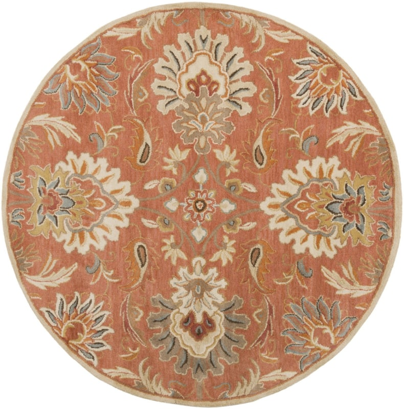 Surya CAE-1112 Caesar Hand Tufted Wool Rug Orange 4 Round Home Decor