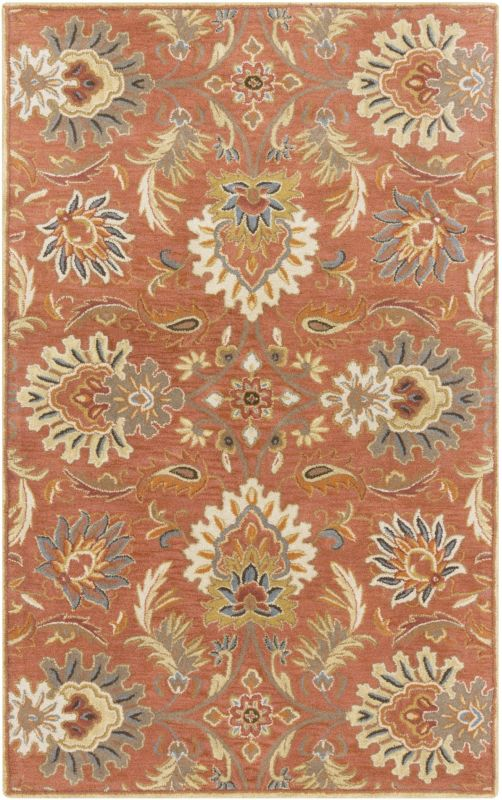 Surya CAE-1112 Caesar Hand Tufted Wool Rug Orange 5 x 8 Home Decor