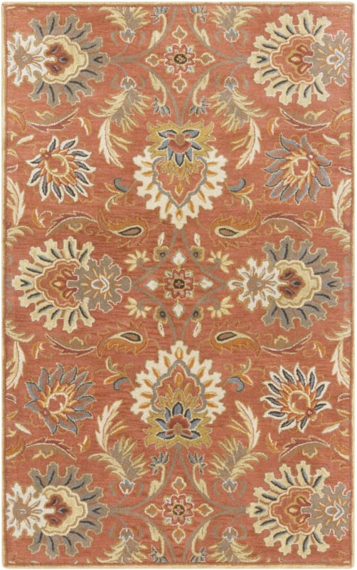 Surya CAE-1112 Caesar Hand Tufted Wool Rug Orange 6 x 9 Home Decor