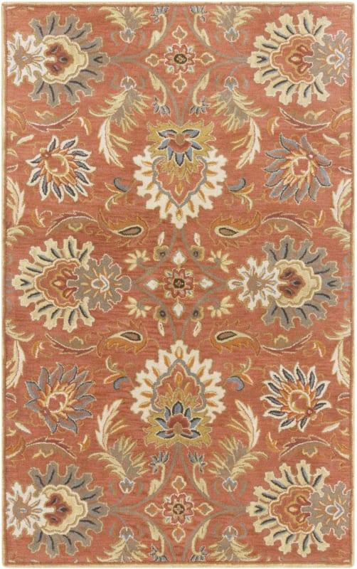 Surya CAE-1112 Caesar Hand Tufted Wool Rug Orange 7 1/2 x 9 1/2 Home