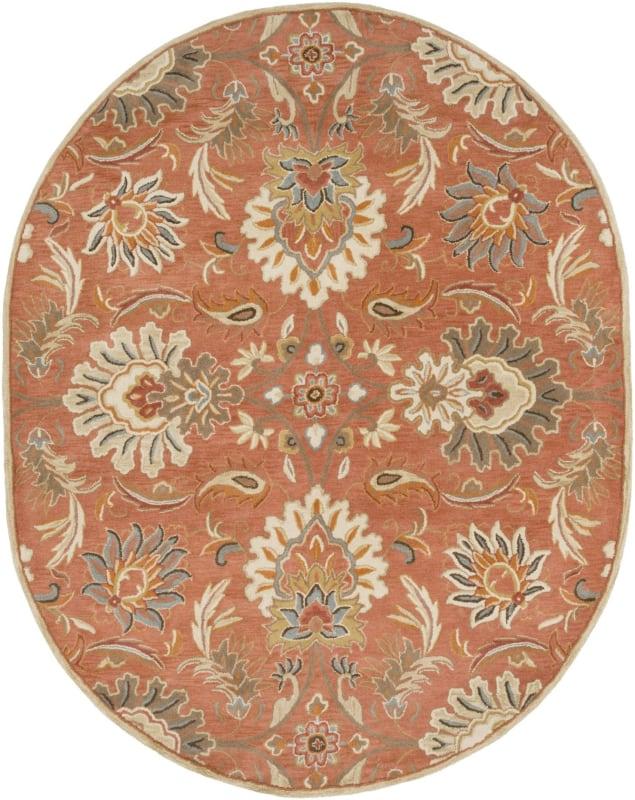 Surya CAE-1112 Caesar Hand Tufted Wool Rug Orange 8 x 10 Oval Home