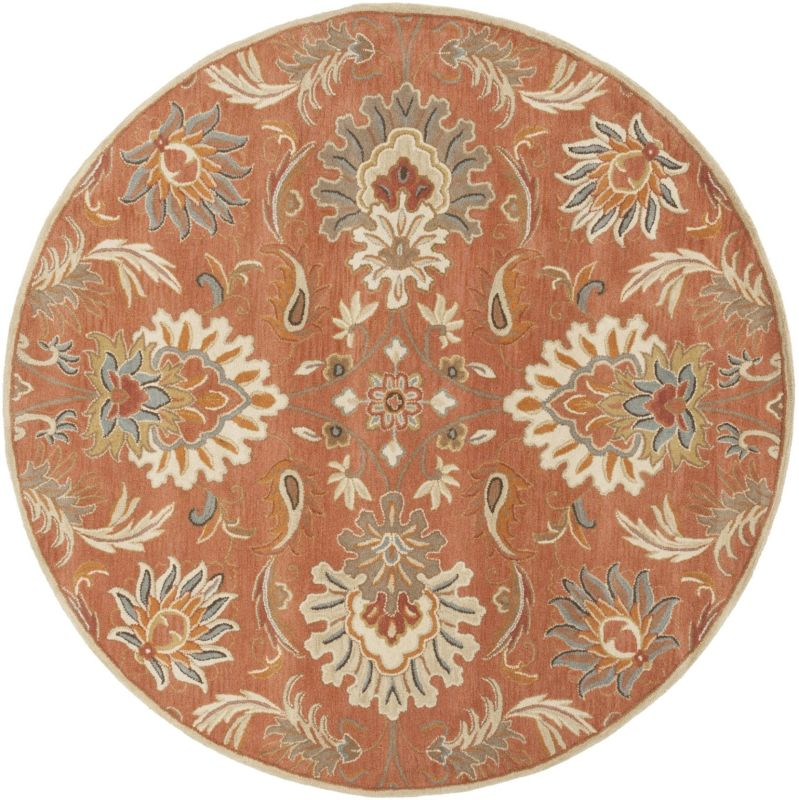 Surya CAE-1112 Caesar Hand Tufted Wool Rug Orange 8 Round Home Decor