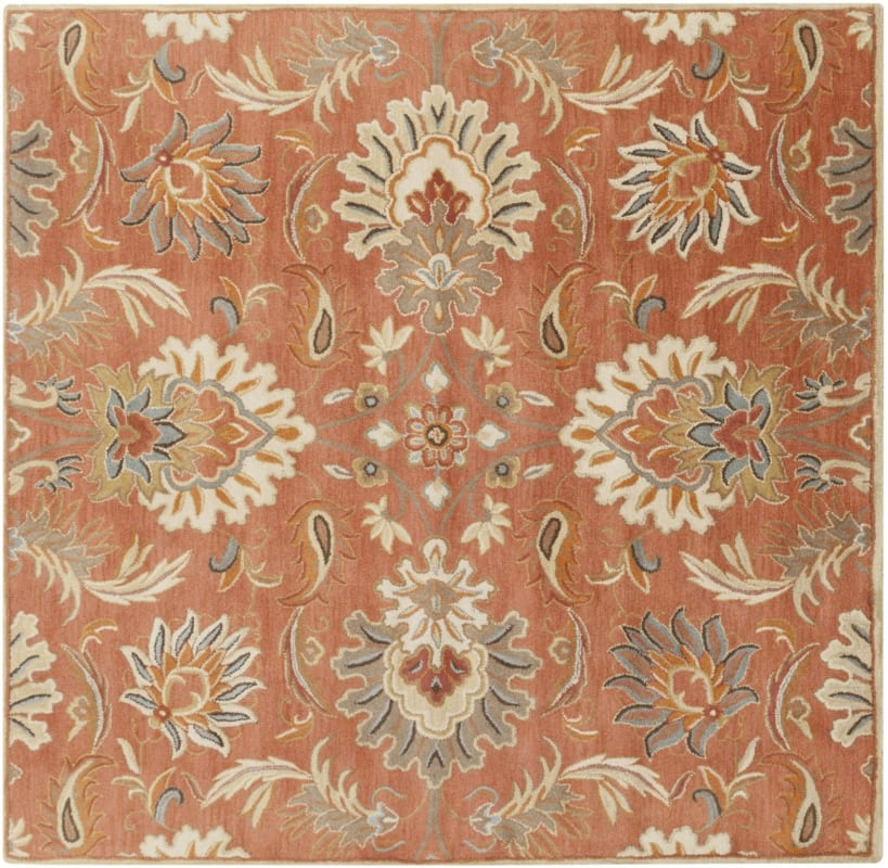 Surya CAE-1112 Caesar Hand Tufted Wool Rug Orange 8 Square Home Decor