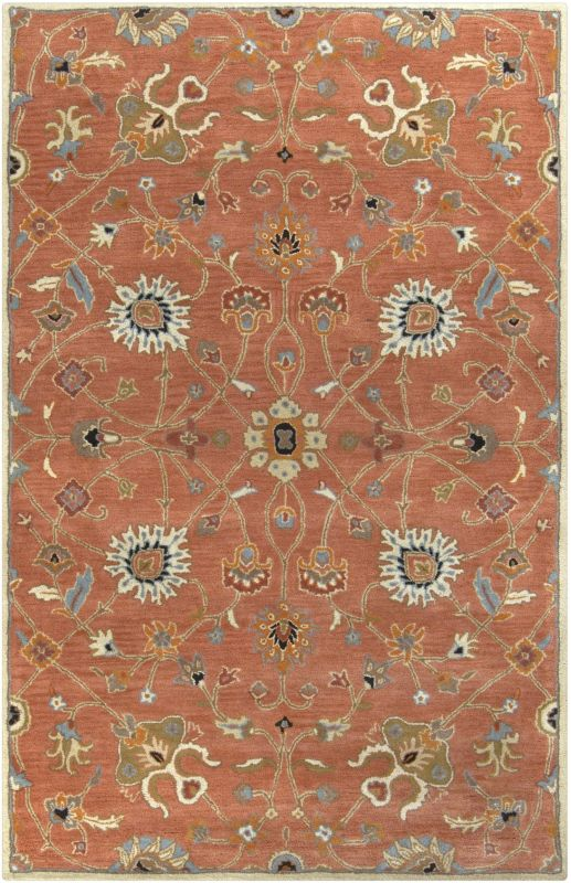 Surya CAE-1119 Caesar Hand Tufted Wool Rug Orange 5 x 8 Home Decor