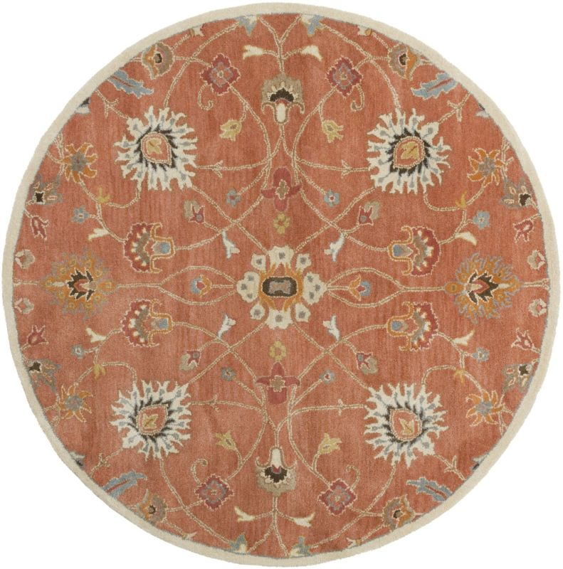Surya CAE-1119 Caesar Hand Tufted Wool Rug Orange 6 Round Home Decor