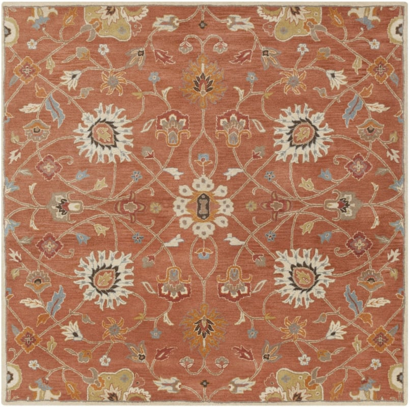 Surya CAE-1119 Caesar Hand Tufted Wool Rug Orange 6 Square Home Decor