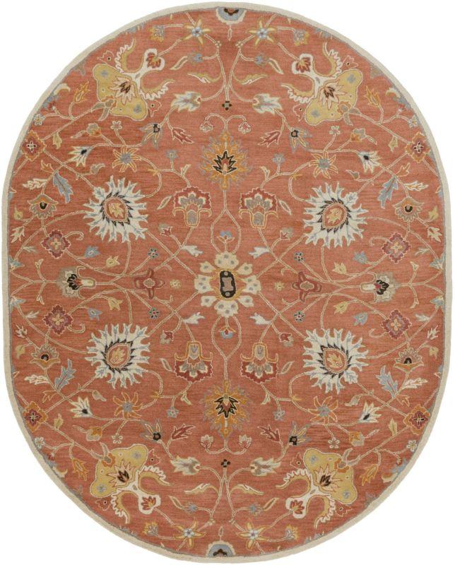 Surya CAE-1119 Caesar Hand Tufted Wool Rug Orange 8 x 10 Oval Home