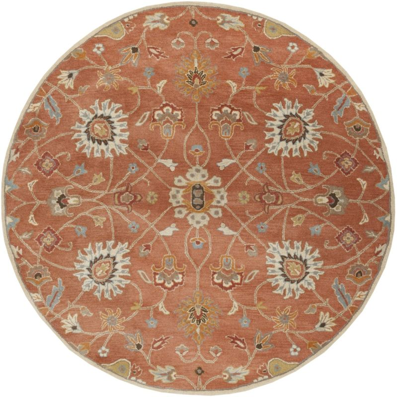 Surya CAE-1119 Caesar Hand Tufted Wool Rug Orange 8 Round Home Decor