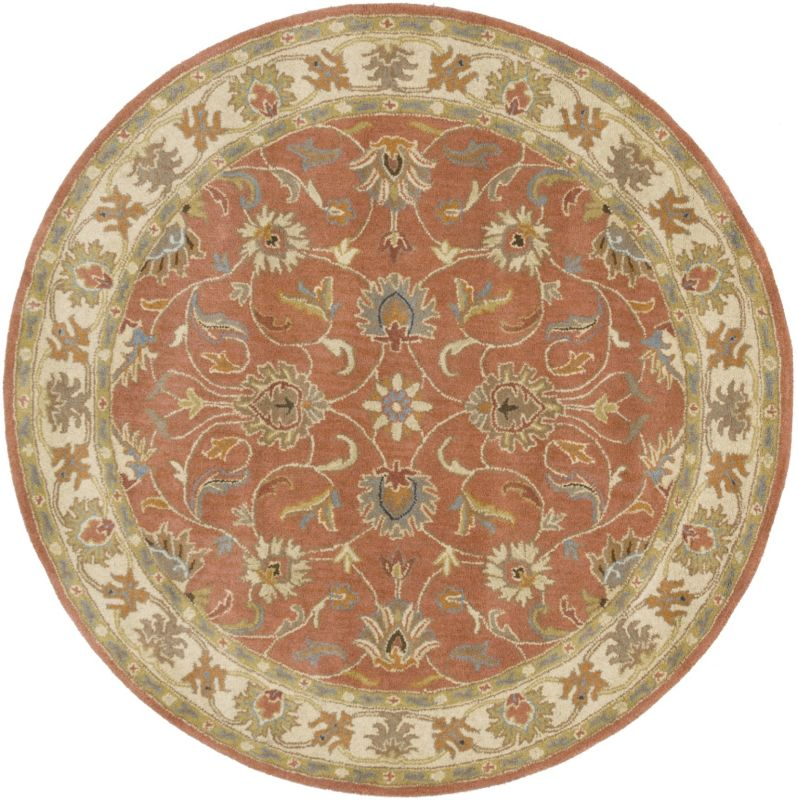 Surya CAE-1124 Caesar Hand Tufted Wool Rug Orange 6 Round Home Decor