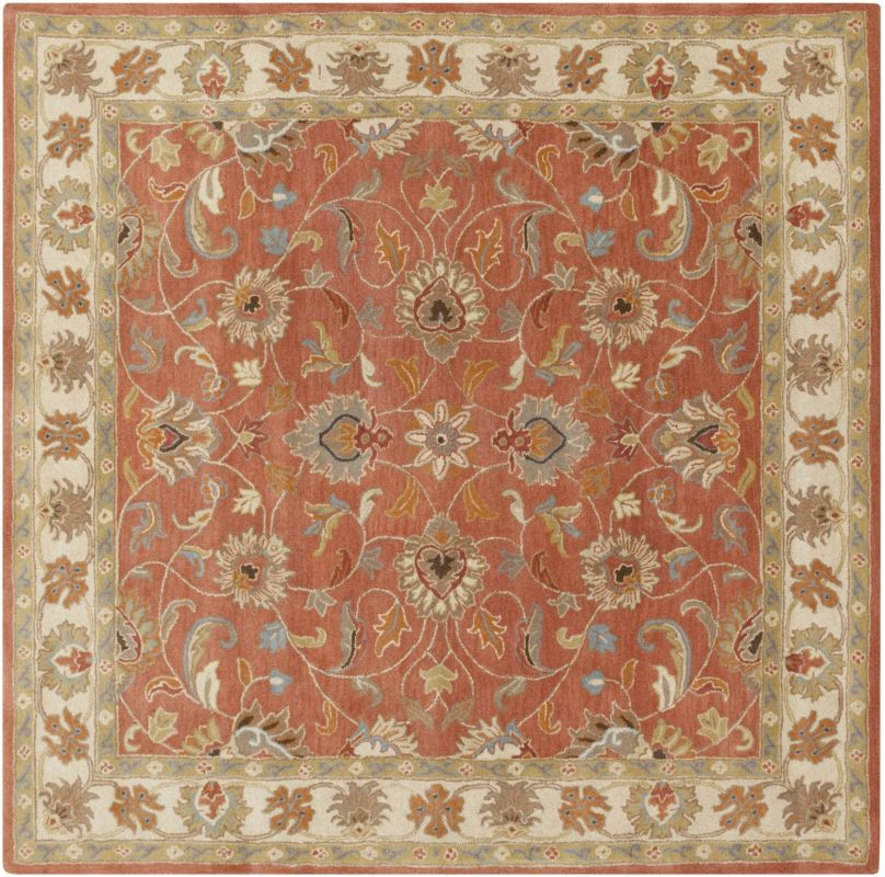 Surya CAE-1124 Caesar Hand Tufted Wool Rug Orange 6 Square Home Decor