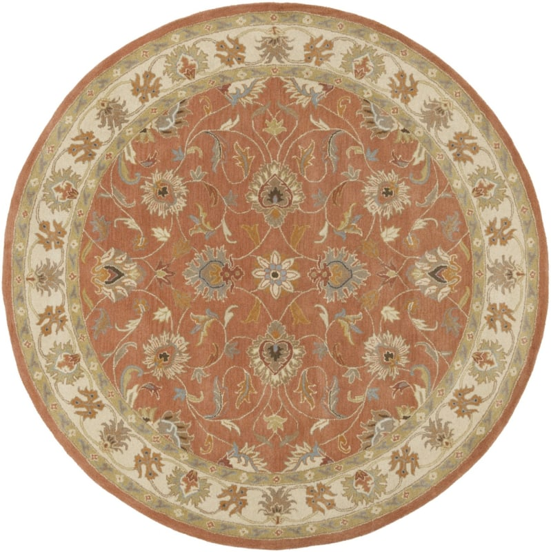 Surya CAE-1124 Caesar Hand Tufted Wool Rug Orange 8 Round Home Decor