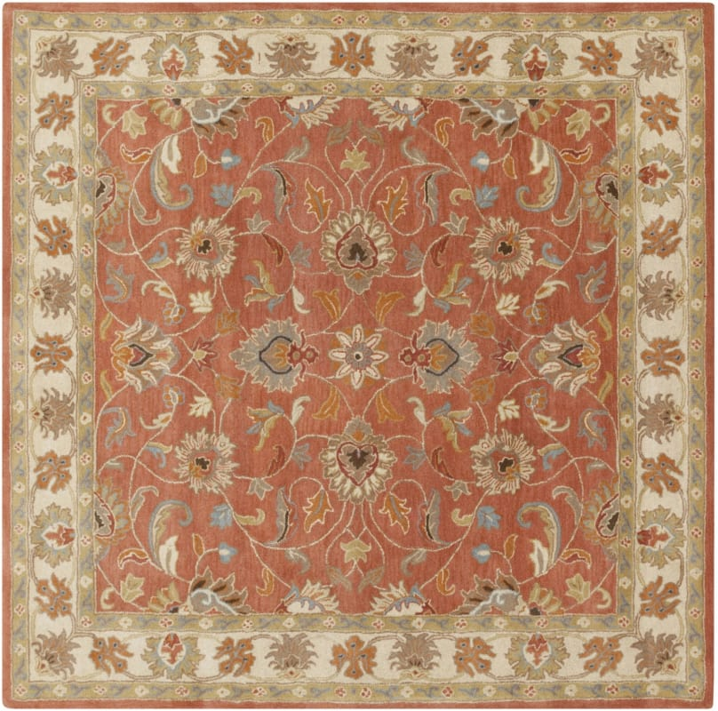 Surya CAE-1124 Caesar Hand Tufted Wool Rug Orange 8 Square Home Decor
