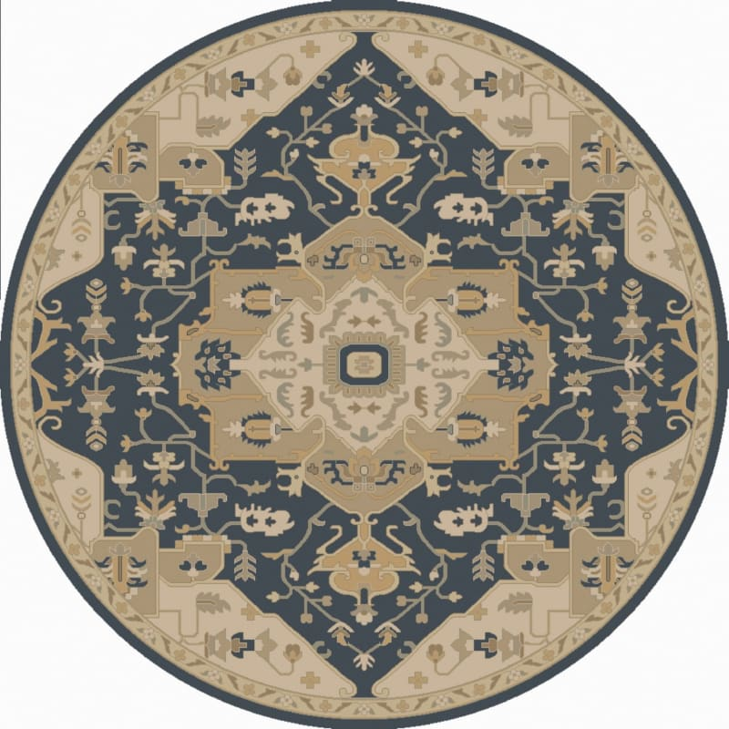 Surya CAE-1145 Caesar Hand Tufted Wool Rug Blue 4 Round Home Decor