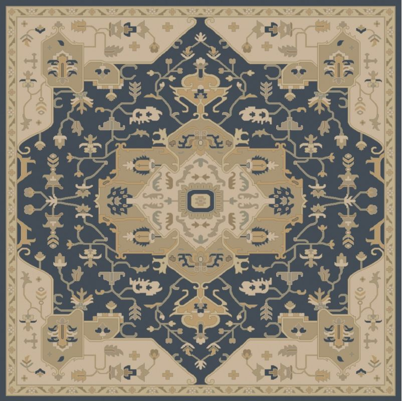 Surya CAE-1145 Caesar Hand Tufted Wool Rug Blue 8 Square Home Decor