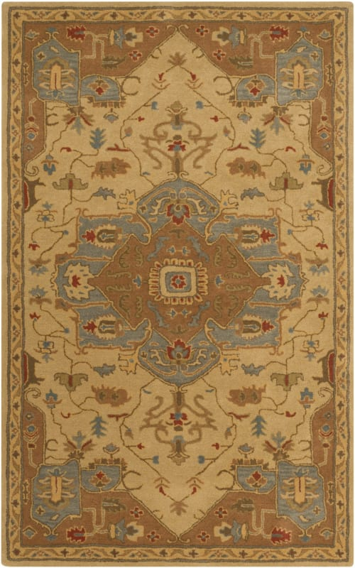 Surya CAE-1146 Caesar Hand Tufted Wool Rug Gold 6 x 9 Oval Home Decor
