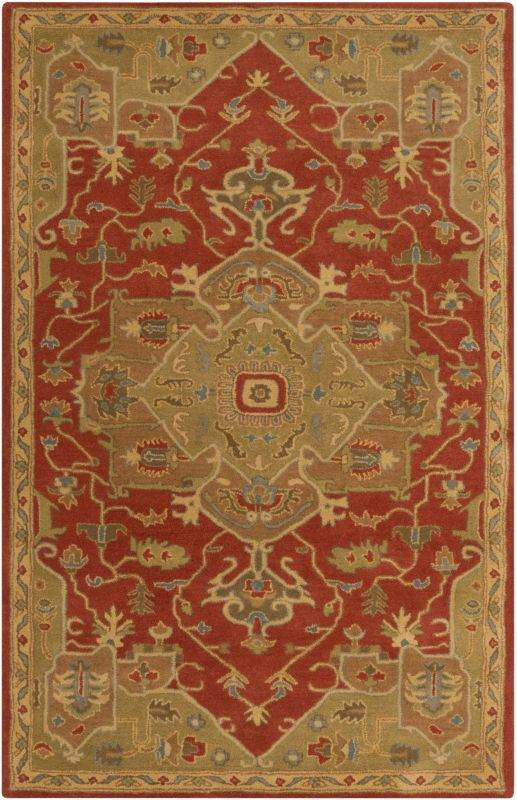 Surya CAE-1147 Caesar Hand Tufted Wool Rug Red 8 x 11 Home Decor Rugs