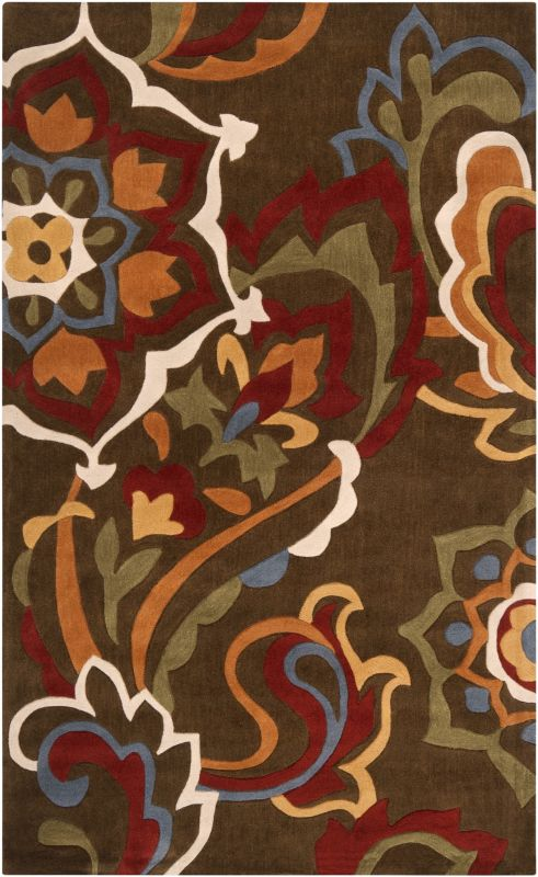 Surya COS-9056 Cosmopolitan Hand Tufted Polyester Rug Brown 5 x 8 Home