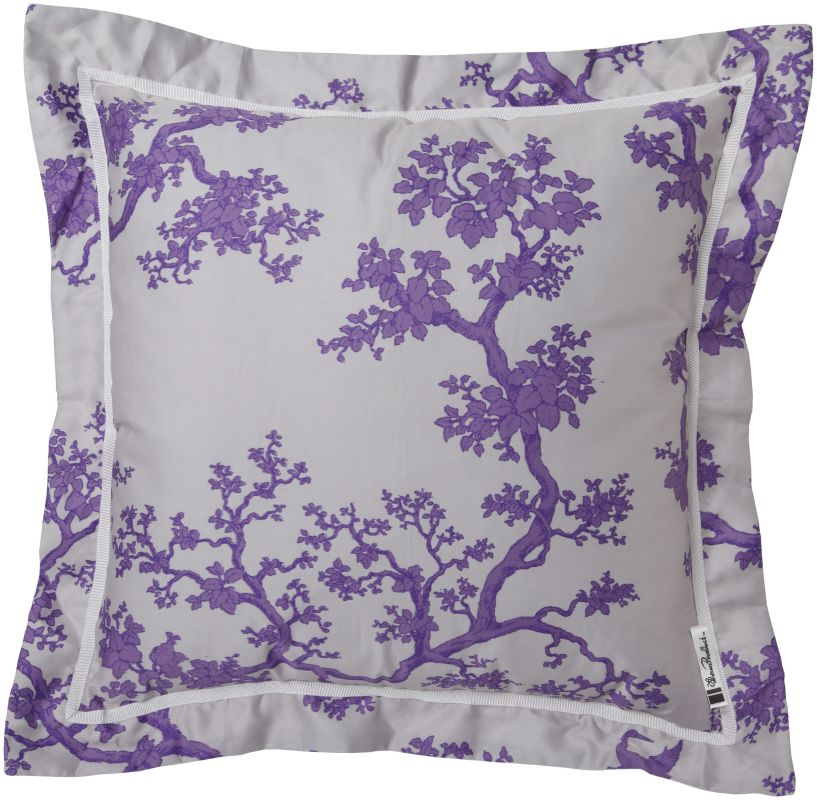 Surya FBC002 The Cranes Ivory and Violet Decorative Pillow Designed By