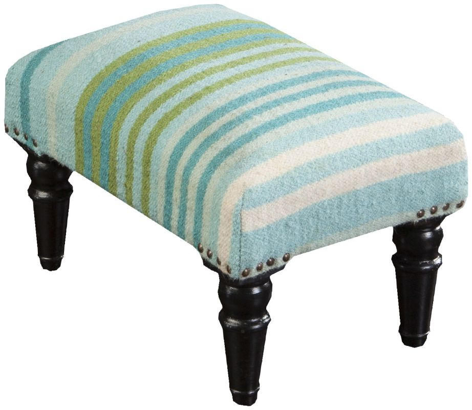 Surya FL1006 Wool Upholstered Rectangular Ottoman Blue Furniture