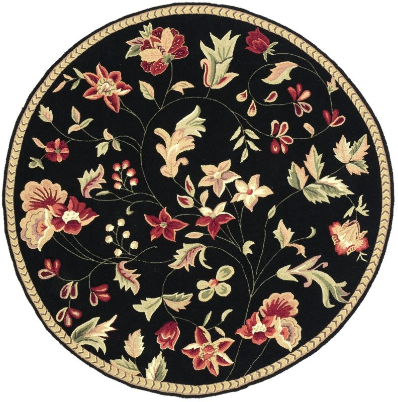 Surya FLO-8907 Flor Hand Hooked Wool Rug Round 6 x 6 Home Decor Rugs