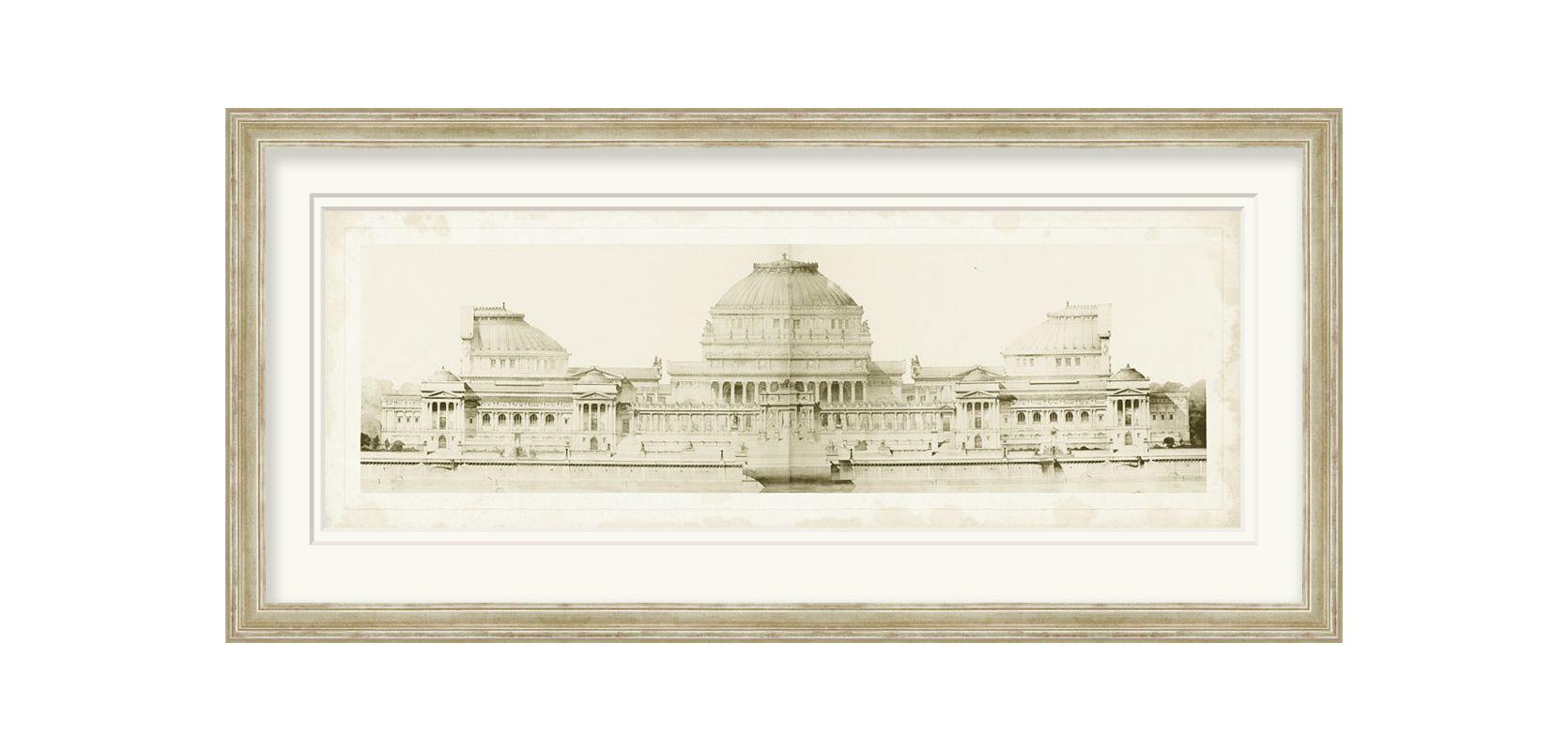 "Surya LJ4075 43"" x 21"" Les Grand Prix de Rome I Giclee Print White"