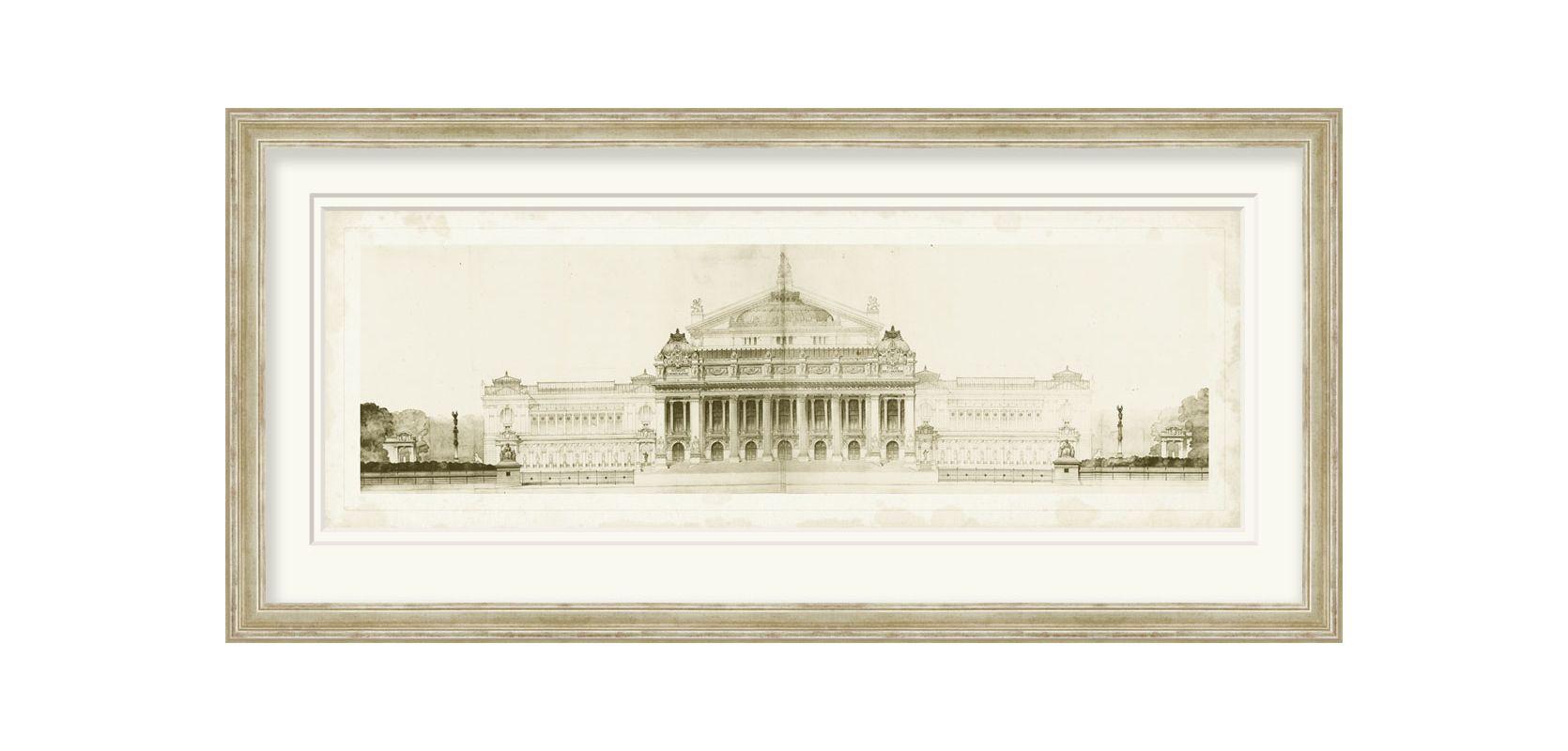 "Surya LJ4076 43"" x 21"" Les Grand Prix de Rome II Giclee Print White"