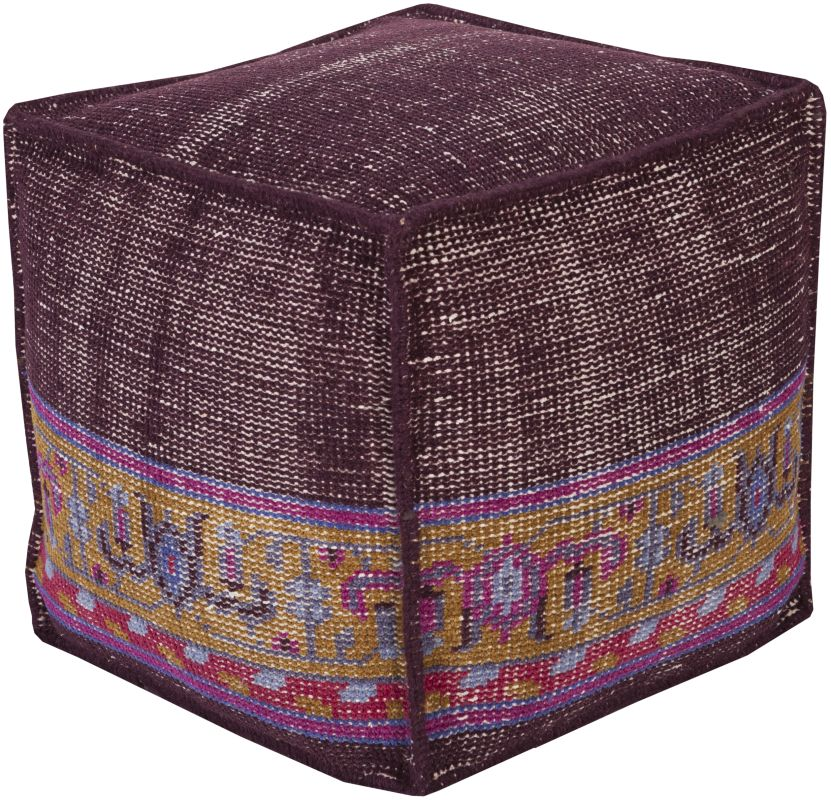 Surya ZHPF-001 Indoor Pouf from the Zahara collection Eggplant Home