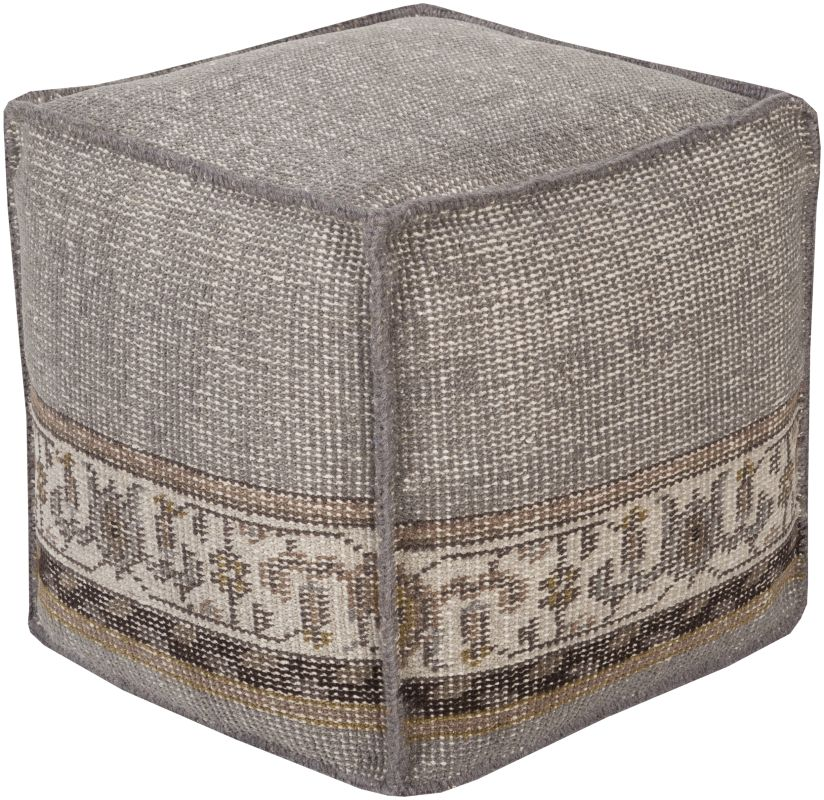 Surya ZHPF-002 Indoor Pouf from the Zahara collection Gray Home Decor