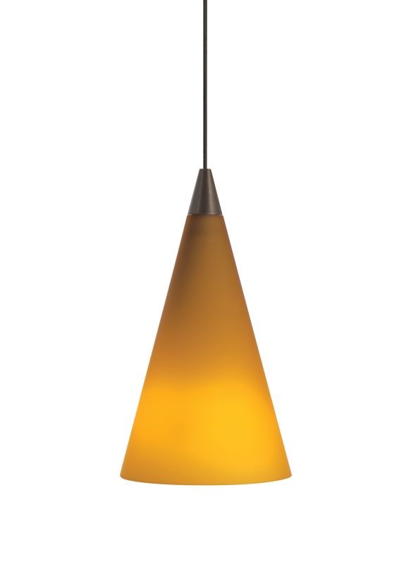 Tech Lighting 700KCONA Kable Lite Amber Glass Cone Pendant - 12v
