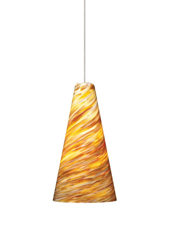 Tech Lighting 700KLTAZA Kable Lite Mini Taza Amber Twisted Blown Glass