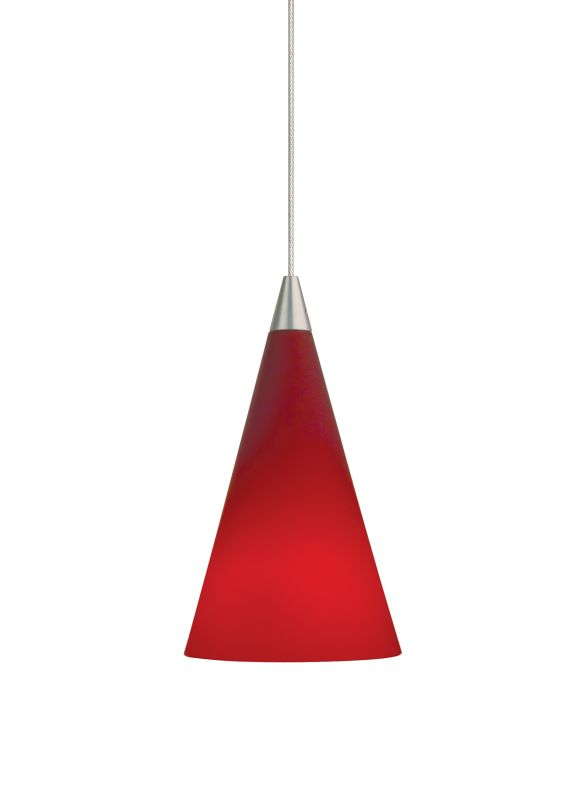 Tech Lighting 700MO2CONR Two-Circuit MonoRail Red Glass Cone Pendant -