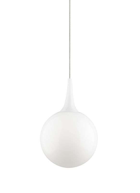 "Tech Lighting 700MOPELW MonoRail Pel�© White Modern Glass Sphere Sale $235.20 ITEM: bci2262014 ID#:700MOPELWZ UPC: 884655079358 Features: Modern glass sphere topped with glass detail Includes low-voltage, 50 watt frosted halogen bi-pin lamp or 6 watt replaceable LED module and six feet of field-cuttable suspension cable Shown in Satin Nickel finishLamping Technologies: Bulb Base - GY6.35 - A bi pin or ' bipin socket', the GY6.35 has a pin spread of 6.35 mm and is used mostly with halogen bulbs common for task lighting and landscape lighting. Compatible Bulb Types: GY6.35 Bulb Base uses primarily a Halogen but is also compatible as LED and Xenon / Krypton.Specifications: Number of Bulbs: 1 Bulb Base: GY6.35 Bulb Type: Halogen Bulb Included: Yes Watts Per Bulb: 50 Wattage: 50 Height: 10"" Width: 6.5"" Energy Star: No :"