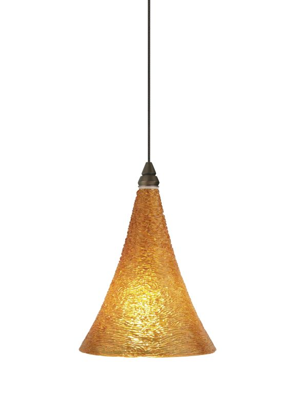 Tech Lighting 700MOSUGA MonoRail Sugar Amber Cone Shaped Glass Pendant