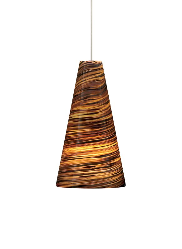 "Tech Lighting 700TDTAZPN-CF Taza Blown Glass with Brown Color Twists Sale $328.00 ITEM: bci2981805 ID#:700TDTAZPNB-CF UPC: 756460387020 Features: Blown glass shade with intense color twists suspended from a round canopy Black, satin nickel, and white canopy options highlighted with clear cable; antique bronze highlighted with brown cable Includes 120 volt, 75 watt A19 medium base lamp or 18 watt GX24Q-2 base triple tube compact fluorescent lamp (electronic ballast included) Fixture is provided with six feet of field-cuttable cable Incandescent version dimmable with standard incandescent dimmer Shown in Satin Nickel finishLamping Technologies: Bulb Base - CFL Plug-in - This is a quad-pin base with two bi-pin pairs. These are used with compact fluorescent tubes that plug into a light fixture that has a permanent ballast.Specifications: Number of Bulbs: 1 Bulb Base: CFL Plug-in Bulb Type: Compact Fluorescent Bulb Included: Yes Watts Per Bulb: 18 Wattage: 18 Voltage: 120 Height: 11"" Width: 5.9"" Energy Star: No :"