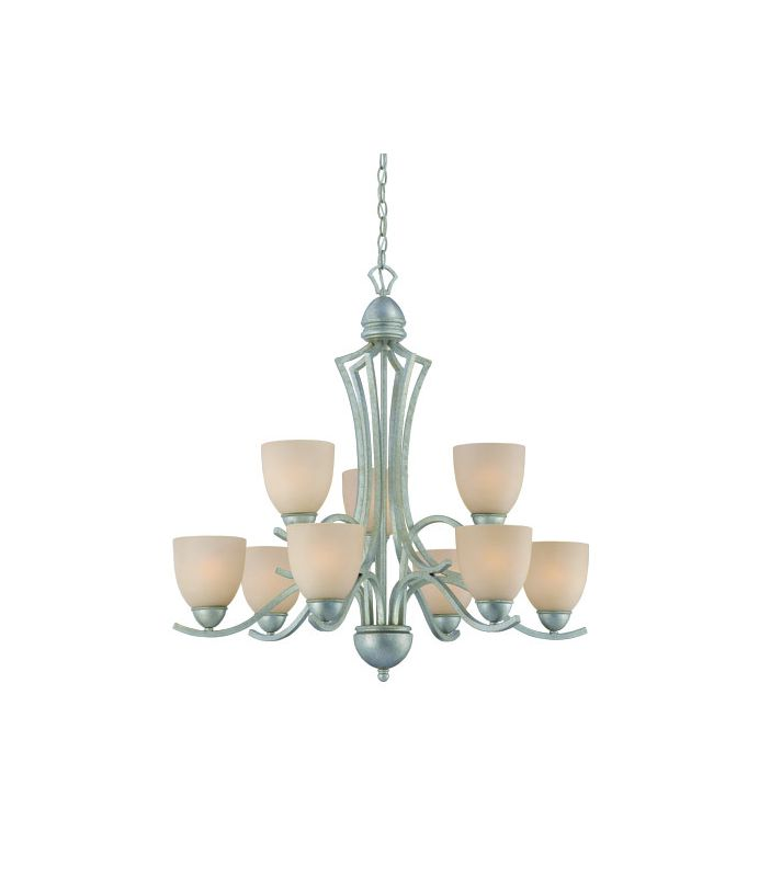 Thomas Lighting SL8083 9 Light Two Tier Chandelier with Round Glass
