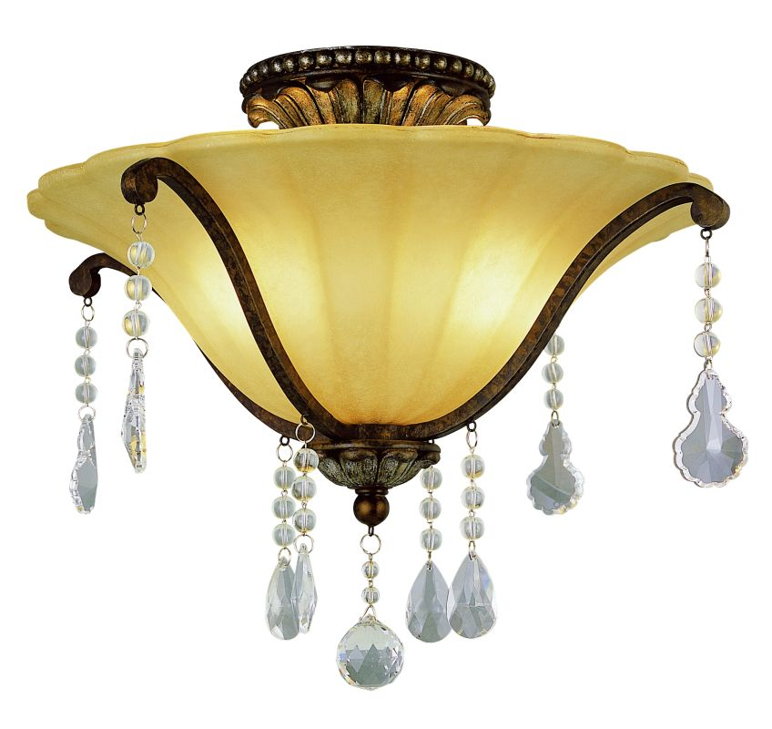 Trans Globe Lighting 3963 Crystal Two Light Down Lighting Semi Flush