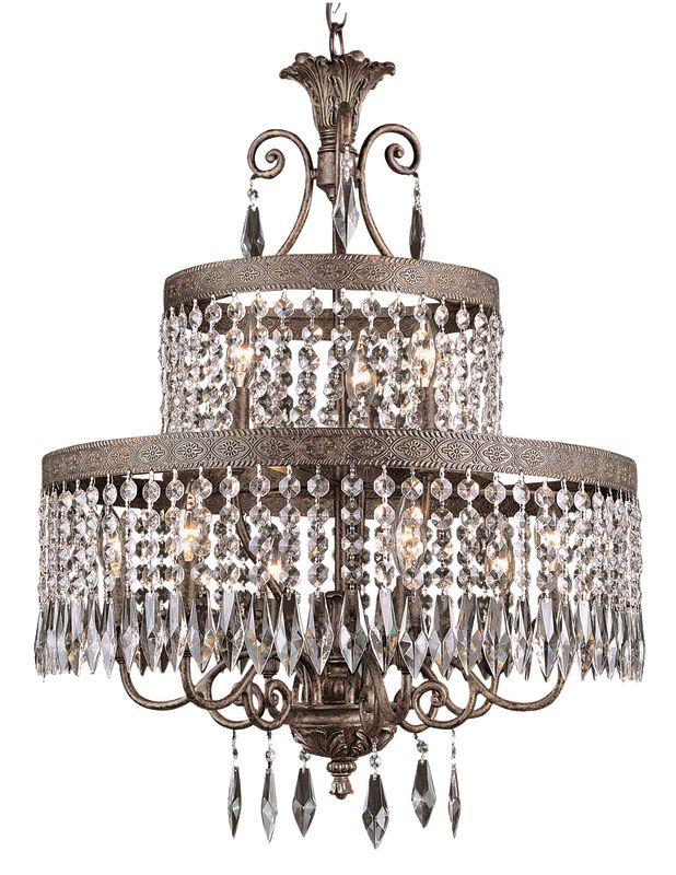 Trans Globe Lighting 8396 Crystal Nine Light Two Tier Chandelier from