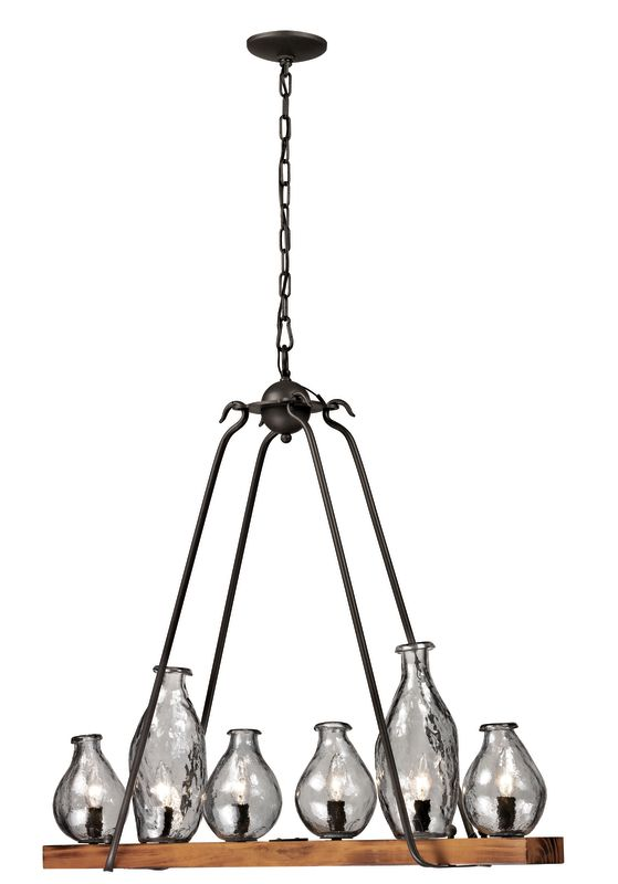 Trans Globe Lighting 70576 Handmade 6 Light Linear Chandelier Black